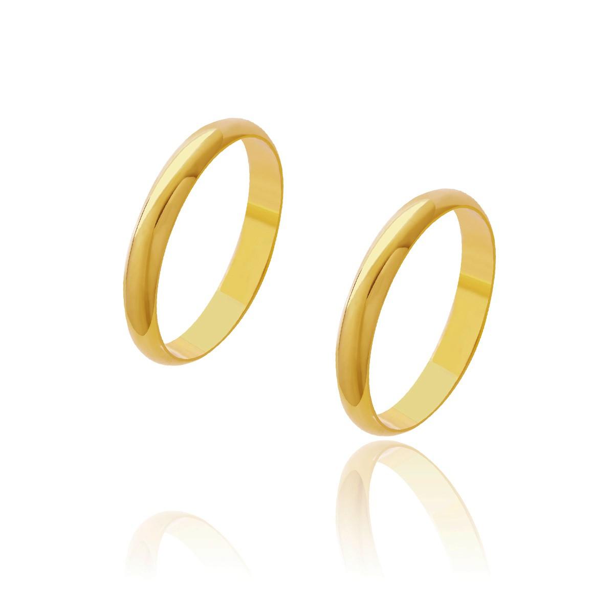 Par de Alianças de Casamento Diana Ouro Abaulada Lisa 3,2mm 6,4g
