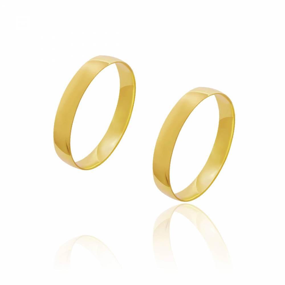 Par de Alianças de Casamento Diana Ouro Abaulada Lisa 3,5mm 2.5g