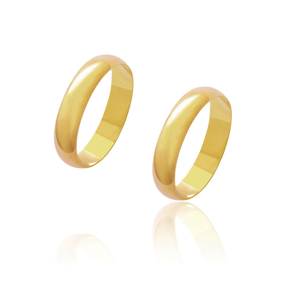 Par de Alianças de Casamento Diana Ouro Abaulada Lisa 4,5mm 3.5g