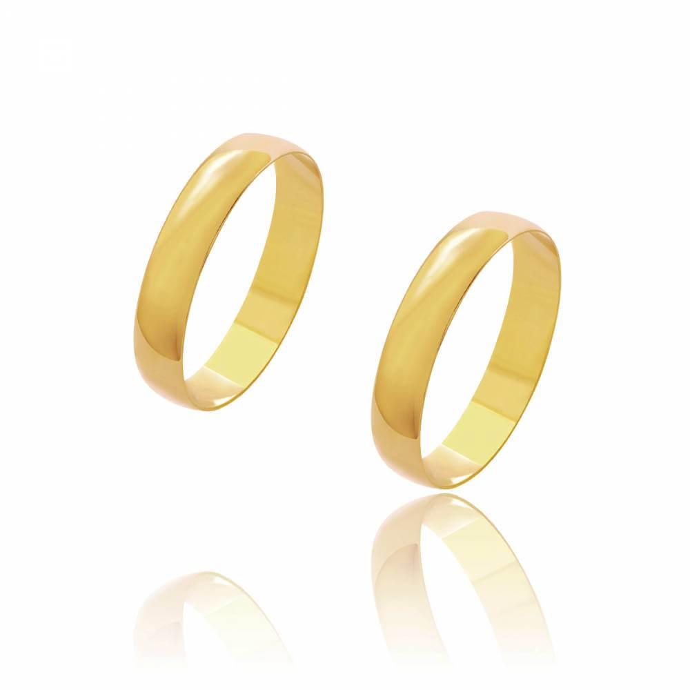 Par de Alianças de Casamento Diana Ouro Abaulada Lisa 4mm 3g