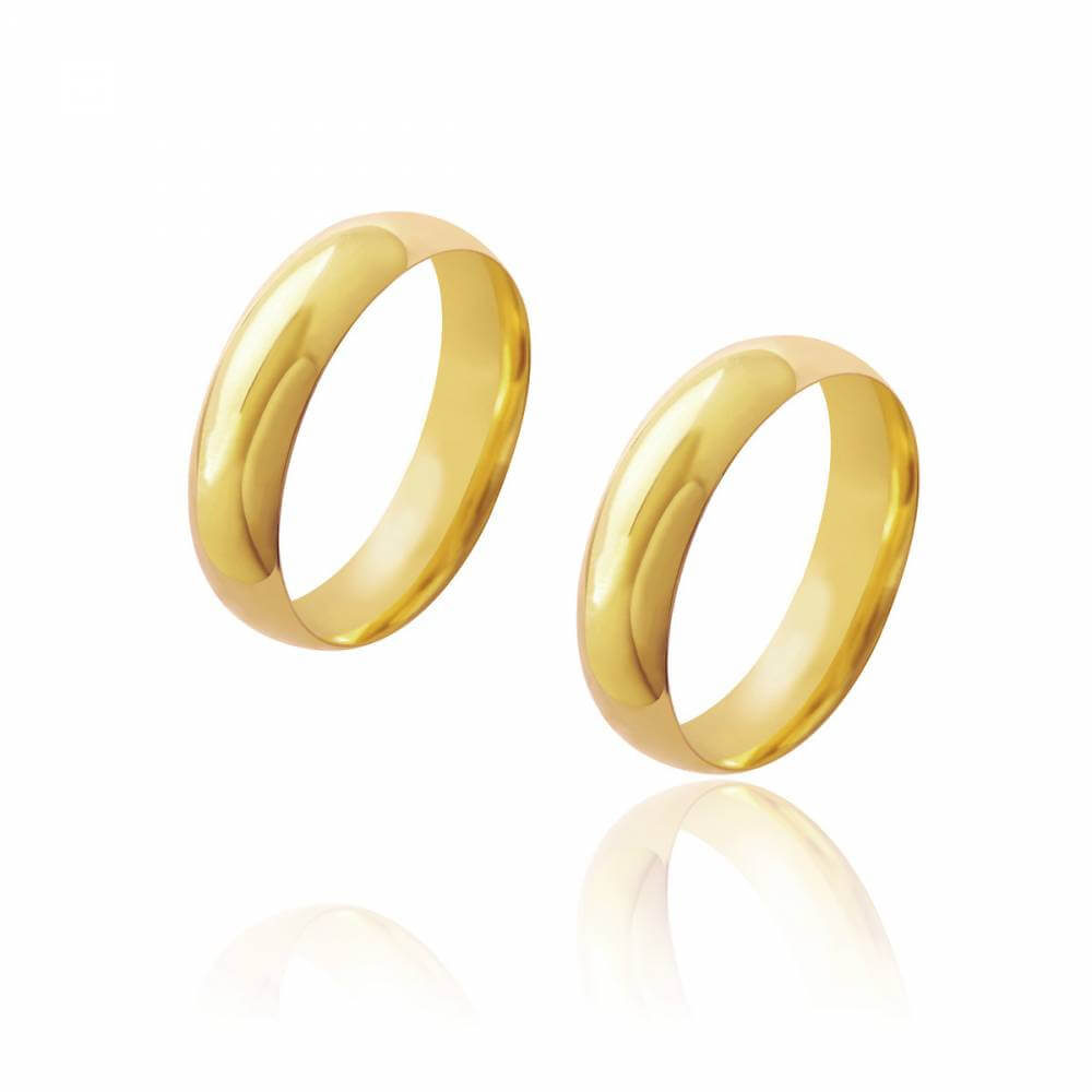 Par de Alianças de Casamento Diana Ouro Abaulada Lisa 5,5mm 8g