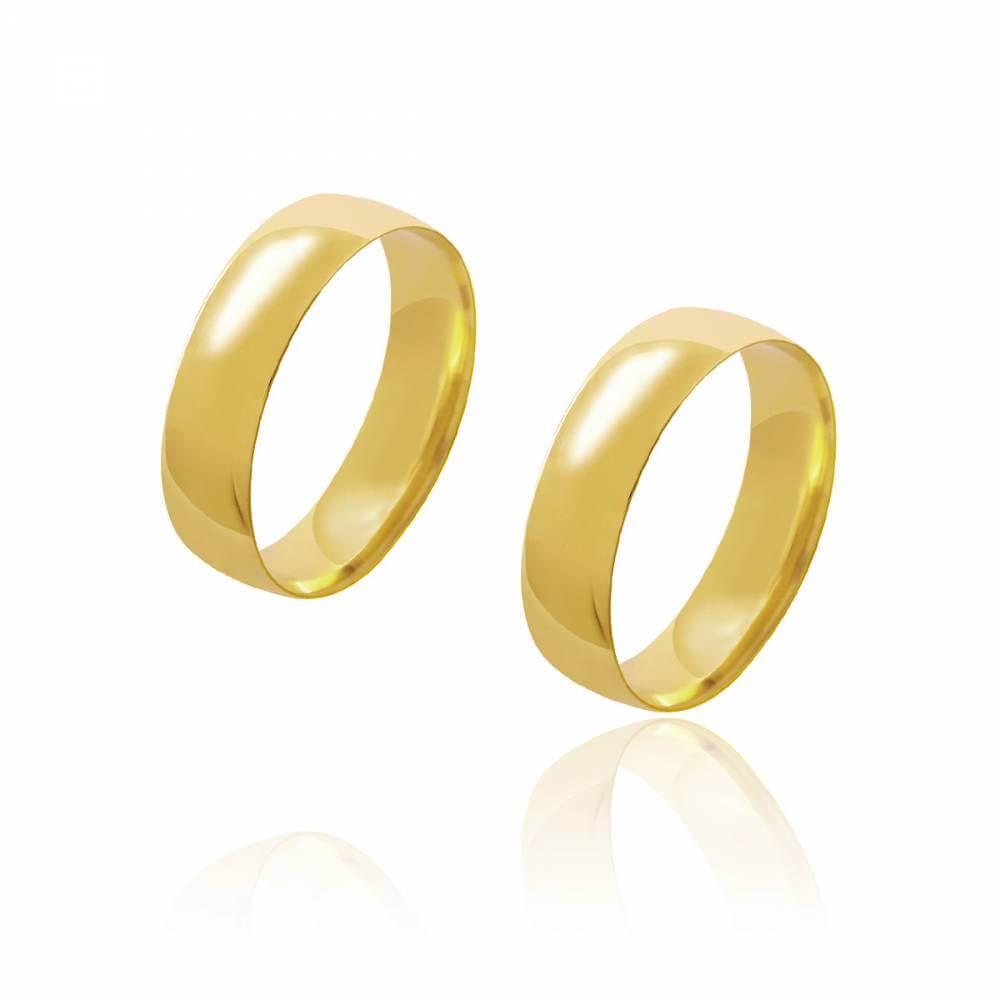 Par de Alianças de Casamento Diana Ouro Abaulada Lisa 5 mm 6.5 g
