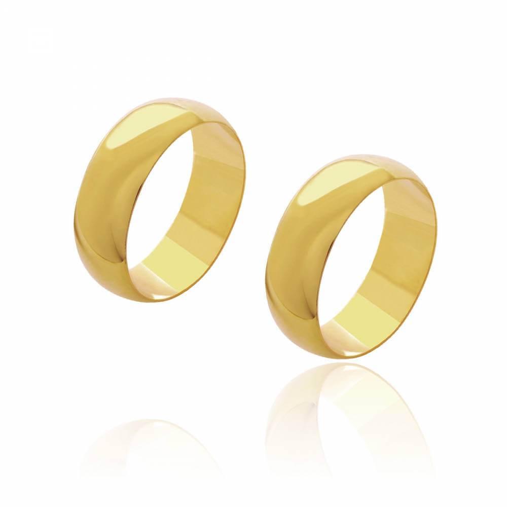 Par de Alianças de Casamento Diana Ouro Abaulada Lisa 7mm 12,4g