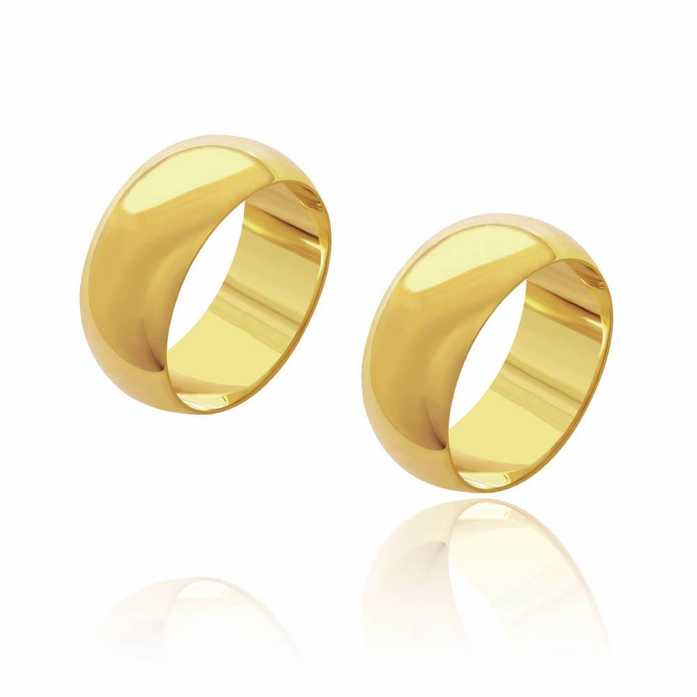 Par de Alianças de Casamento Diana Ouro Abaulada Lisa 9mm 12g