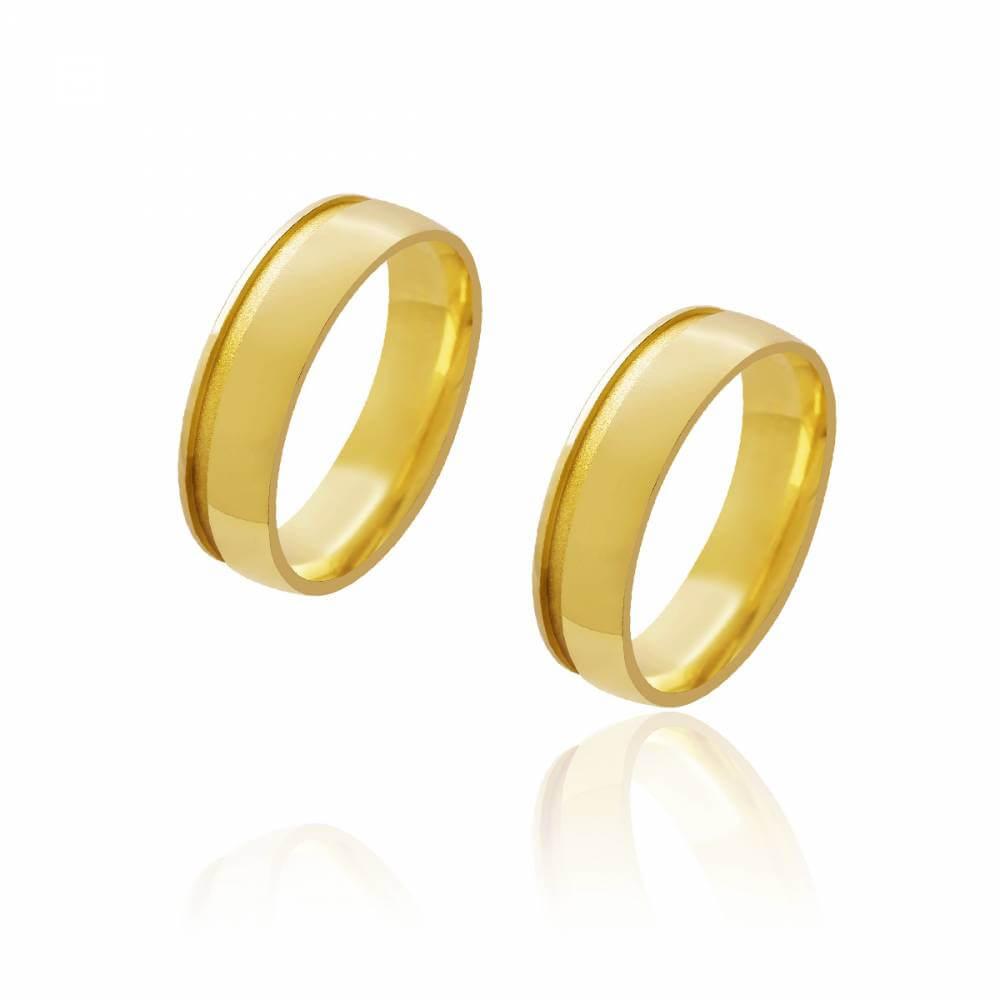 Par de Alianças de Casamento Diana Ouro Abaulada Lisa Friso Lateral 6mm 10g