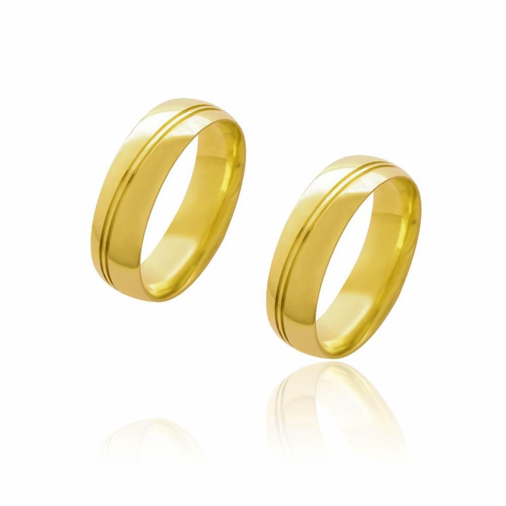 Par de Alianças de Casamento Diana Ouro Abaulada Lisa Frisos Transversais 6mm 11,4g
