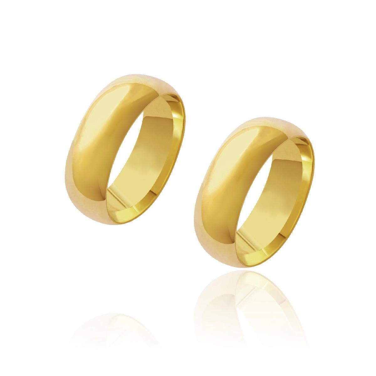 Par de Alianças de Casamento Diana Ouro Abaulada Polida Lisa 7mm 10g