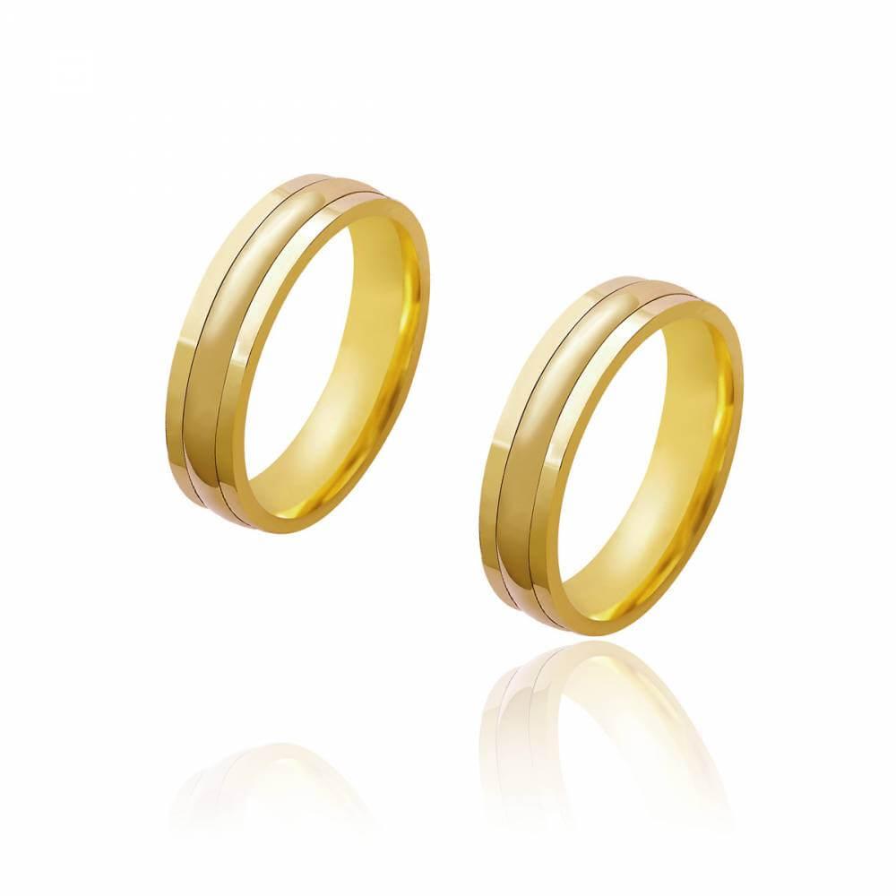 Par de Alianças de Casamento Diana Ouro com Abaulamento Central 5,2mm 10g
