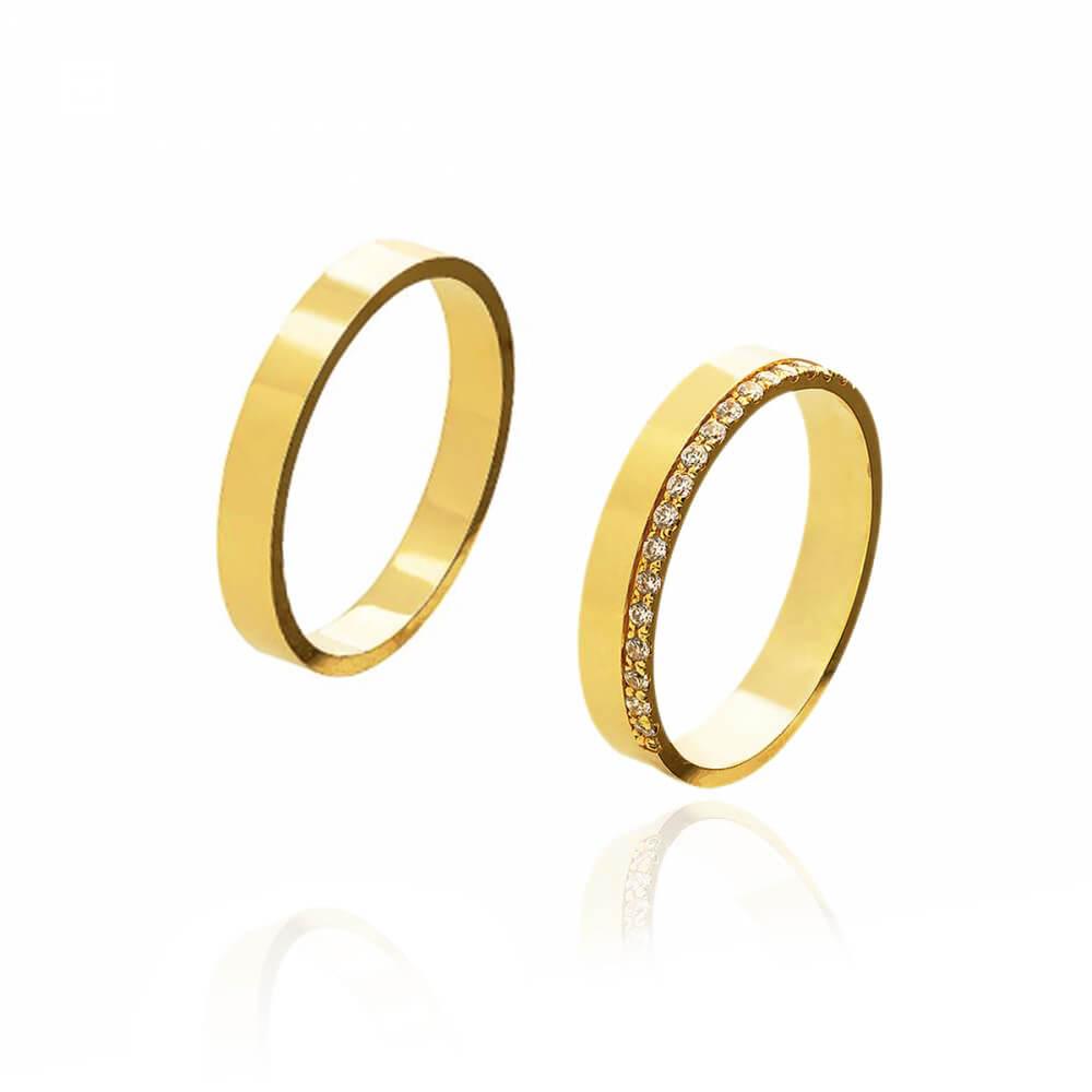 Par de Alianças de Casamento Diana Ouro com Brilhantes 4mm e 6,5g