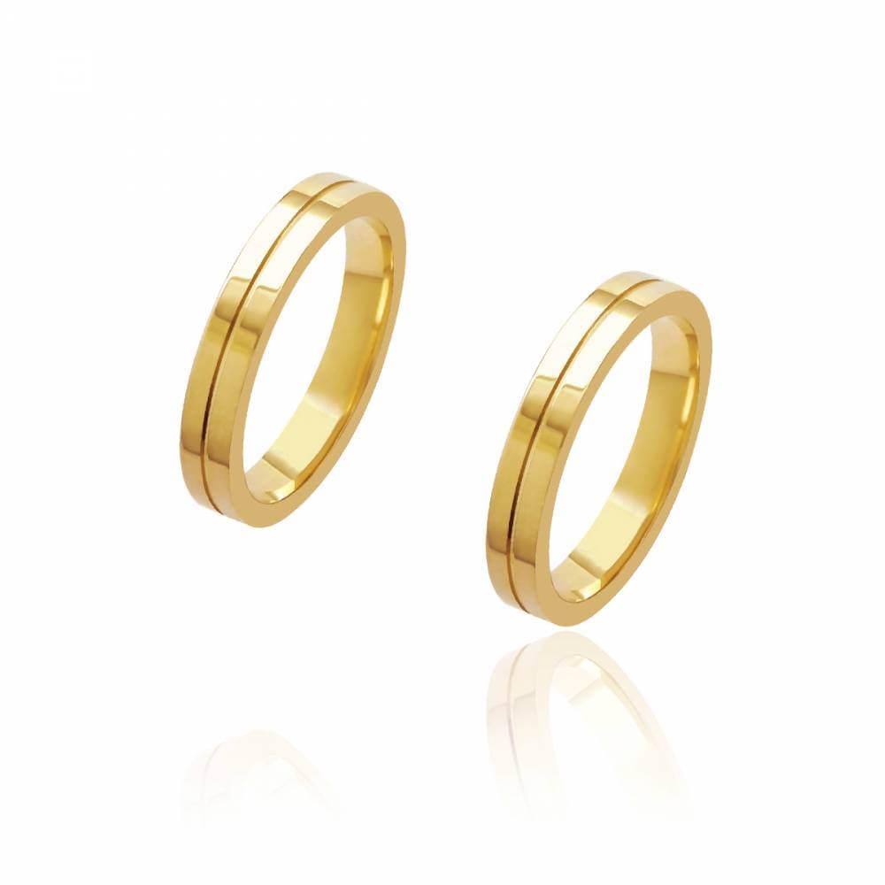 Par de Alianças de Casamento Diana Ouro com Friso Central 3,5mm 5g