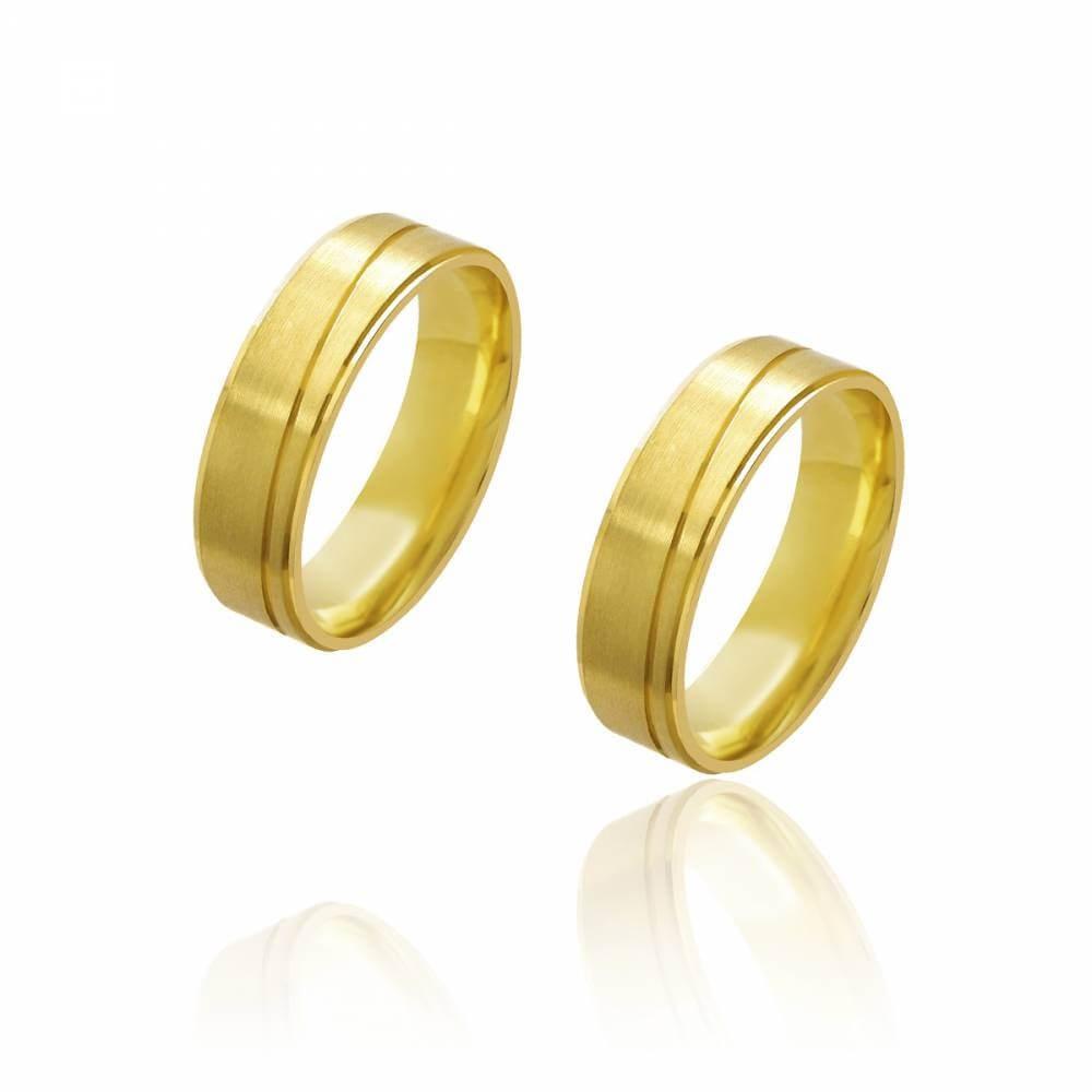 Par de Alianças de Casamento Diana Ouro com Friso Transversal 6mm e 8g