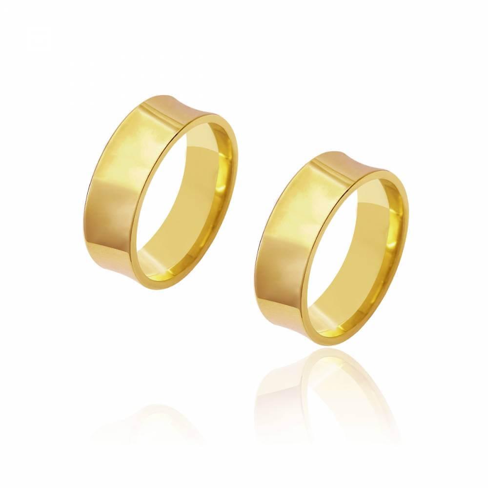 Par de Alianças de Casamento Diana Ouro Cônica 7mm 12g