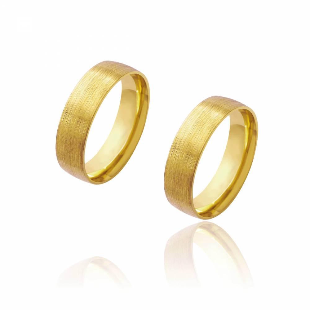 Par de Alianças de Casamento Diana Ouro Diamantada 6mm 9,2g