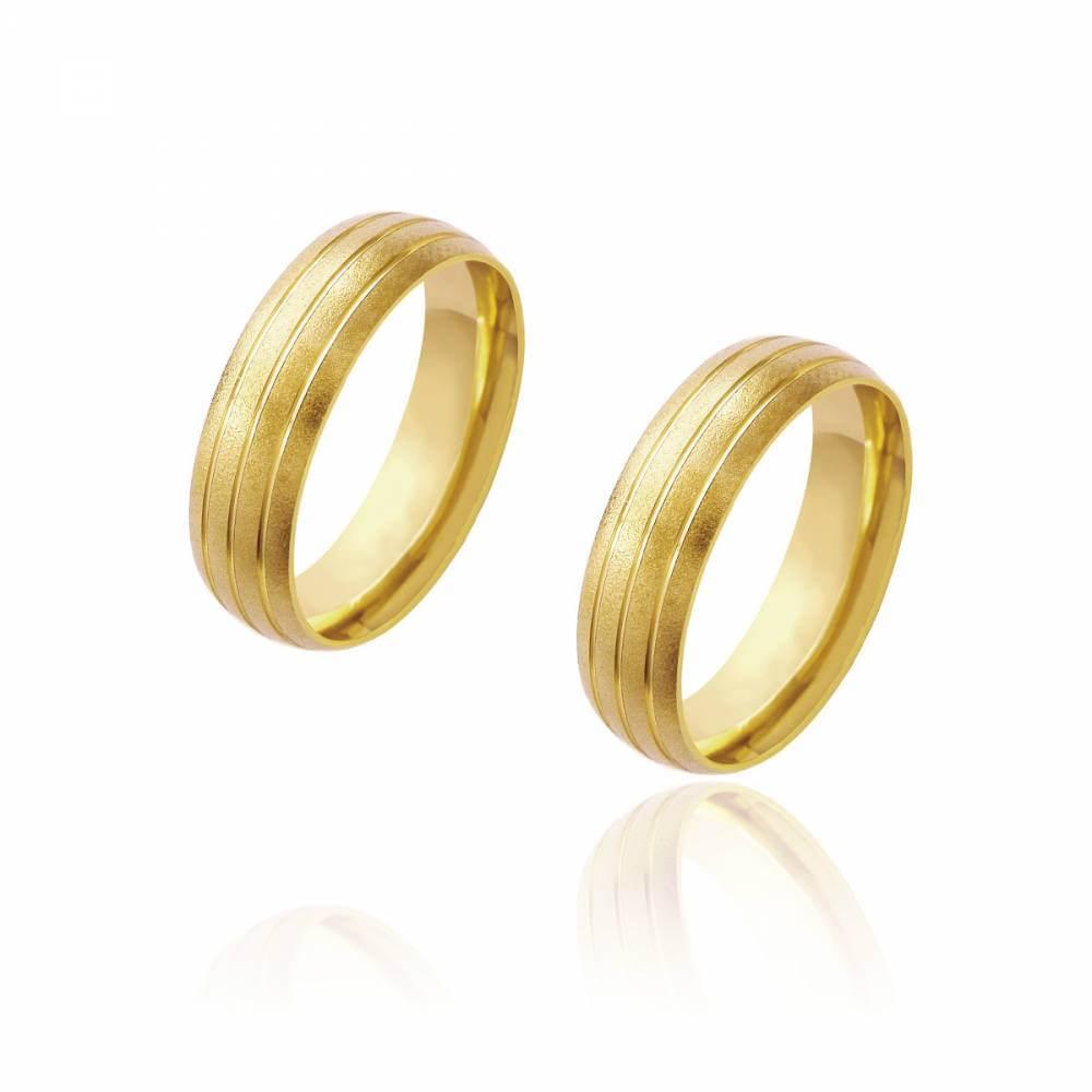 Par de Alianças de Casamento Diana Ouro Diamantada com 3 Frisos 6mm 11 g