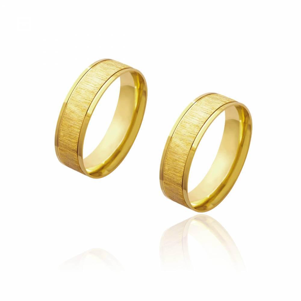 Par de Alianças de Casamento Diana Ouro Diamantada com Laterais Brilhantes 6mm 9g