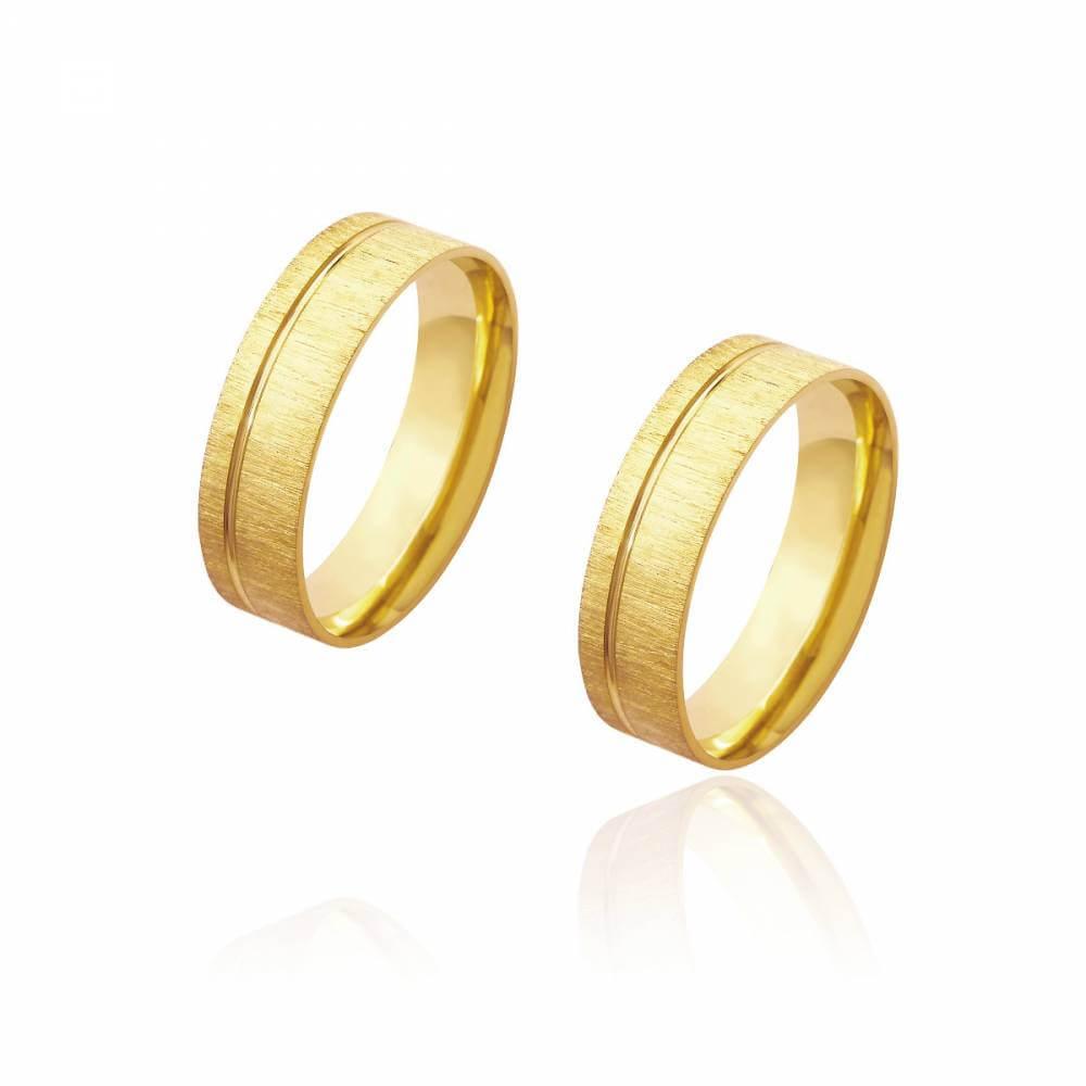 Par de Alianças de Casamento Diana Ouro Diamantada Friso Lateral 6mm 11g