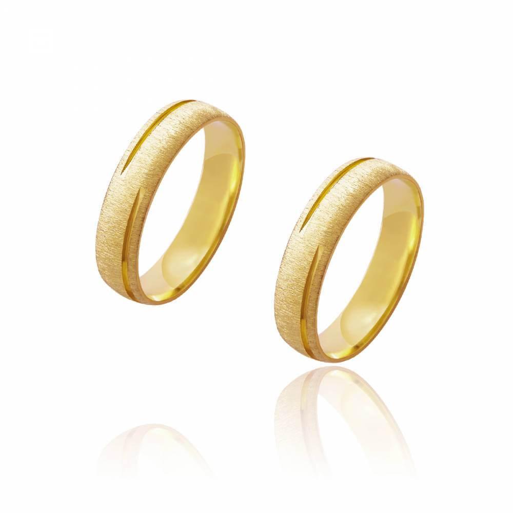 Par de Alianças de Casamento Diana Ouro Diamantada Frisos Alternados 5mm 8g