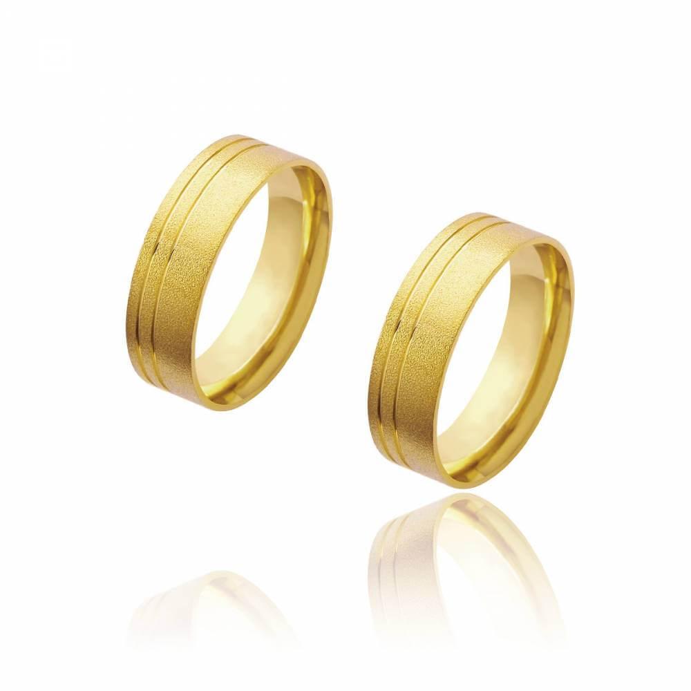 Par de Alianças de Casamento Diana Ouro Diamantada Frisos Laterais 6mm 10g