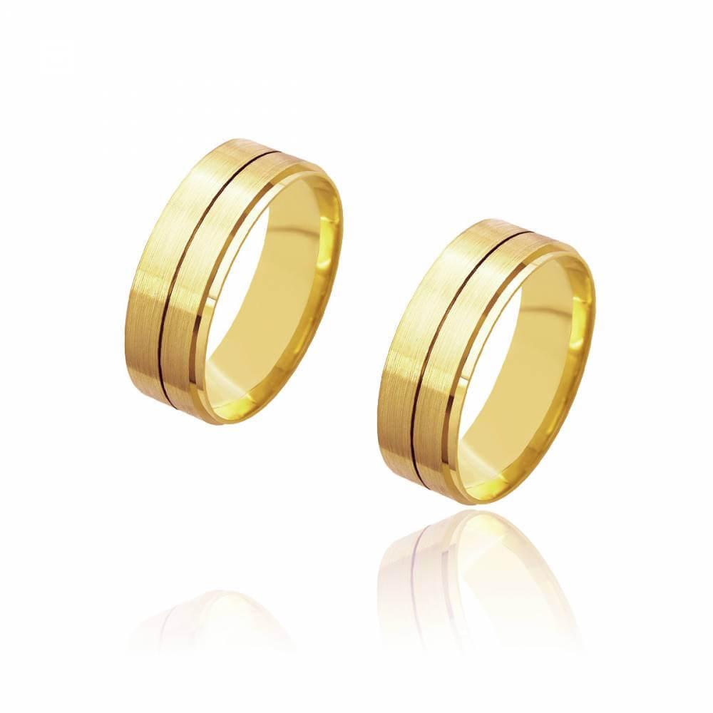 Par de Alianças de Casamento Diana Ouro Diamantada Reta Friso Central 7mm 11g