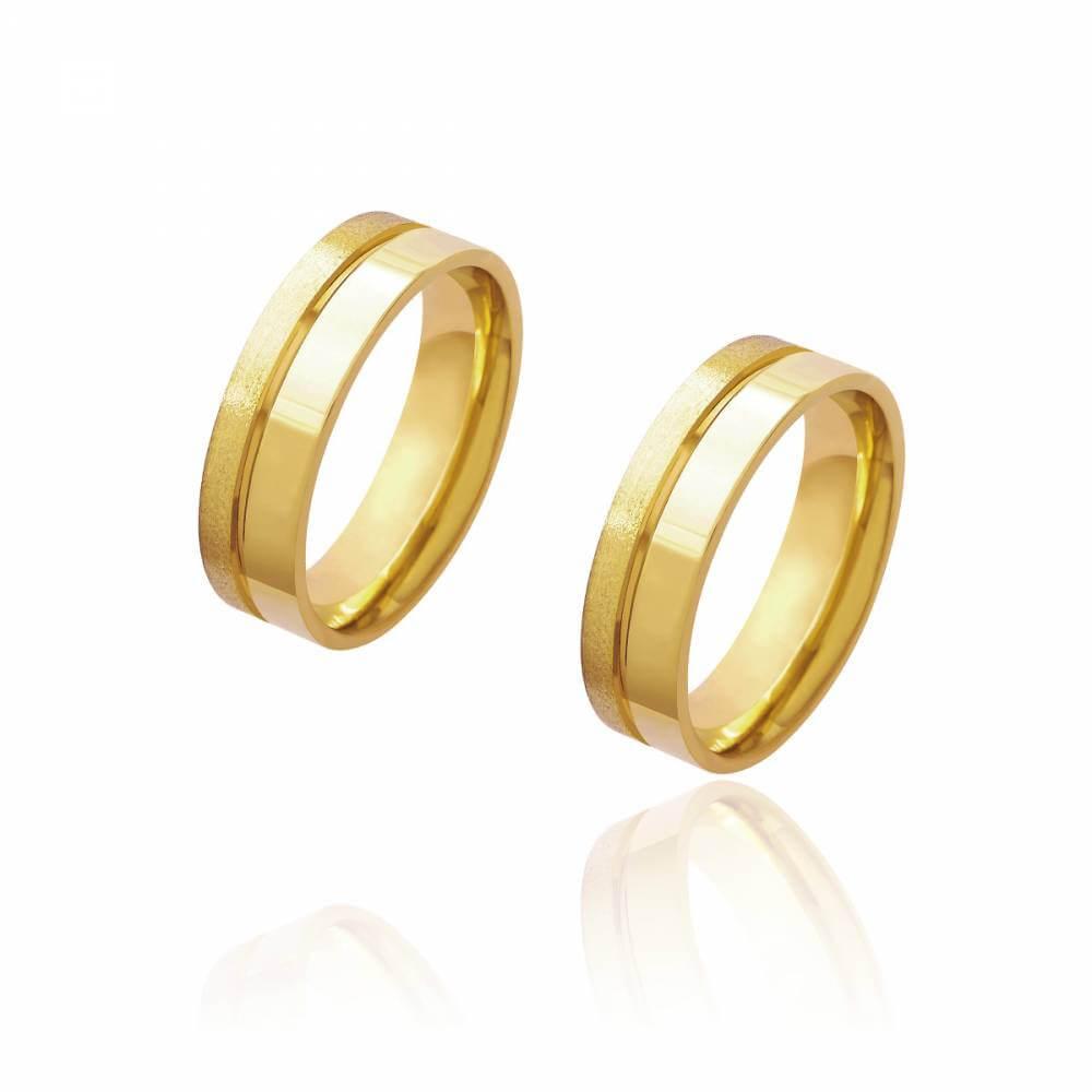 Par de Alianças de Casamento Diana Ouro Friso Lateral 6mm 10g