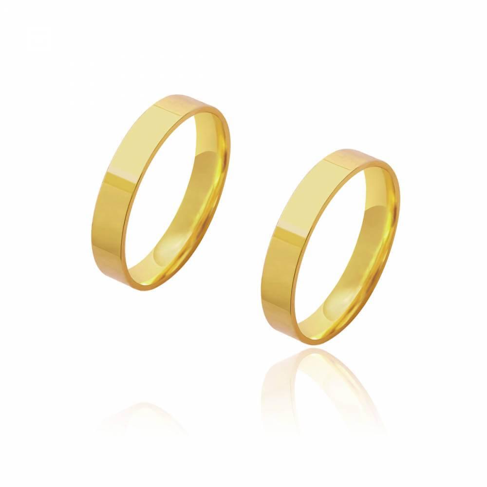 Par de Alianças de Casamento Diana Ouro Lisa Reta 4mm 9,2g