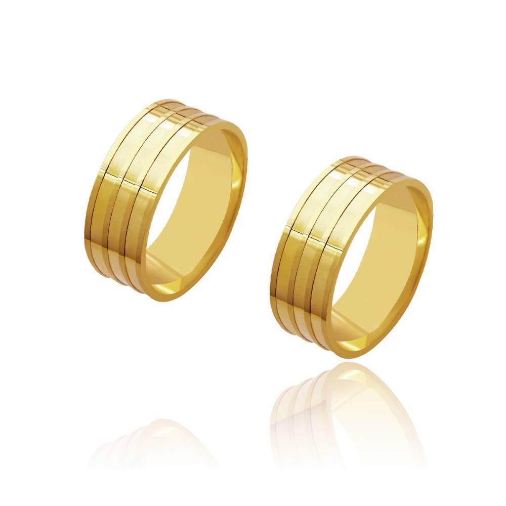 Par de Alianças de Casamento Diana Ouro Reta 4 Frisos 7,5mm 12,8g