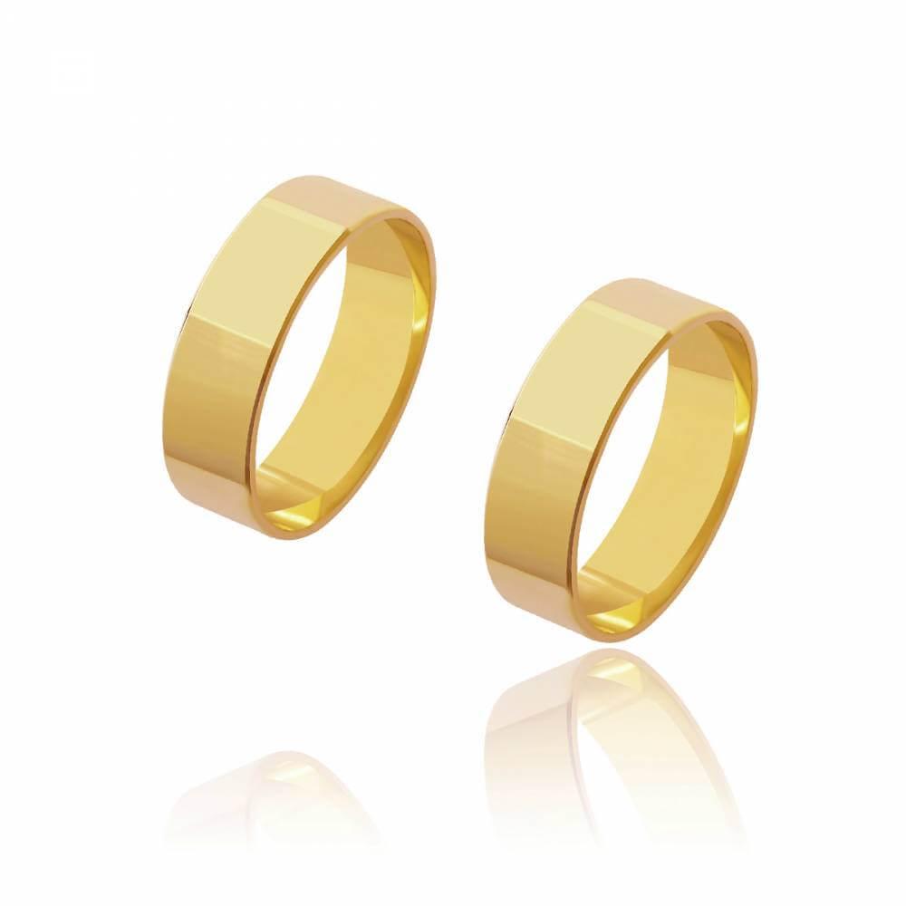 Par de Alianças de Casamento Diana Ouro Reta 6,2mm 11,8g