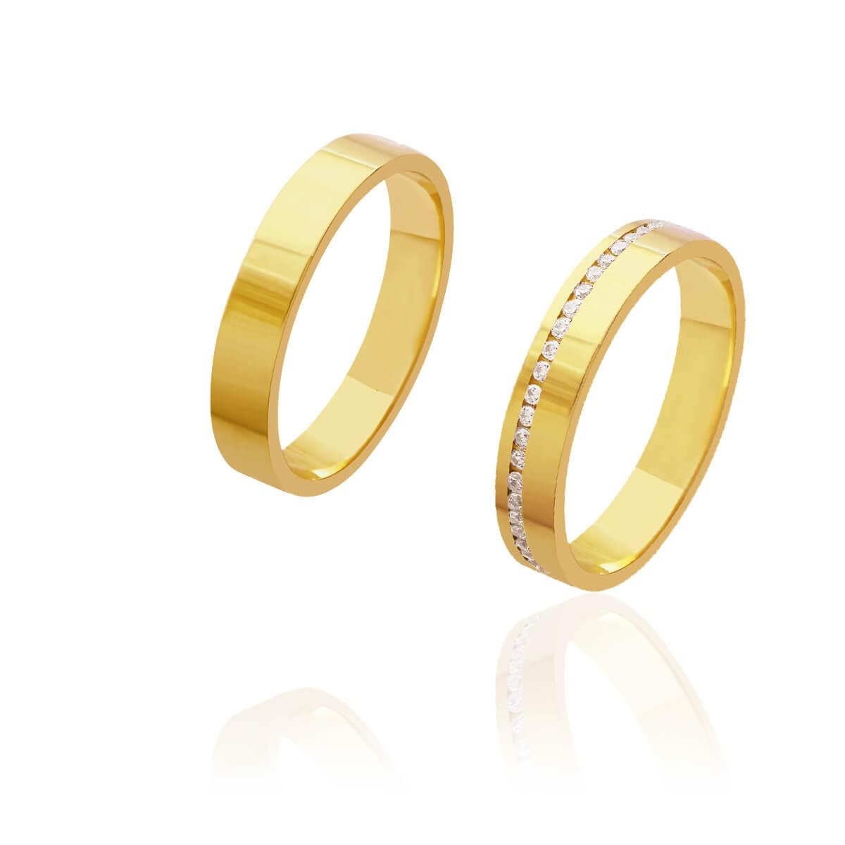 Par de Alianças de Casamento Diana Ouro Reta com Caminho de Brilhantes 4mm 7,5g