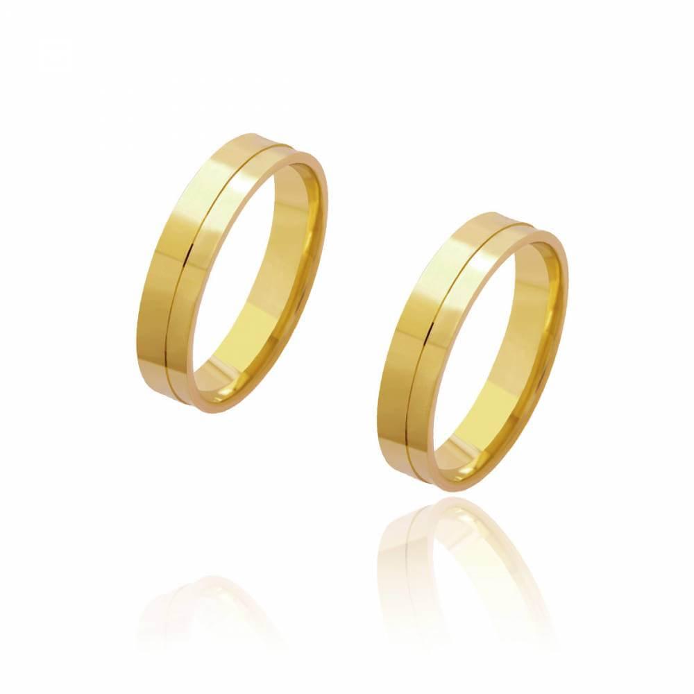 Par de Alianças de Casamento Diana Ouro Reta Friso Lateral 4.5mm e 6 g