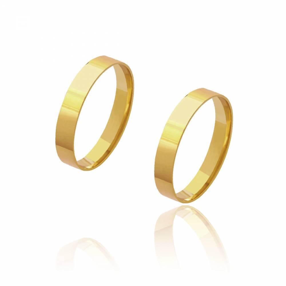Par de Alianças de Casamento Diana Ouro Reta Lisa 3,5mm 5g