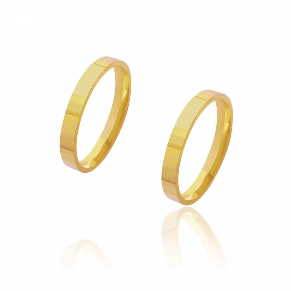 Par de Alianças de Casamento Diana Ouro Reta Lisa 3mm 4,5g