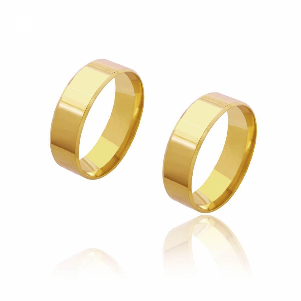 Par de Alianças de Casamento Diana Ouro Reta Lisa 6mm 9,4g