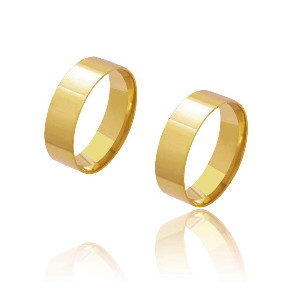 Par de Alianças de Casamento Diana Ouro Reta Lisa 6mm 9g