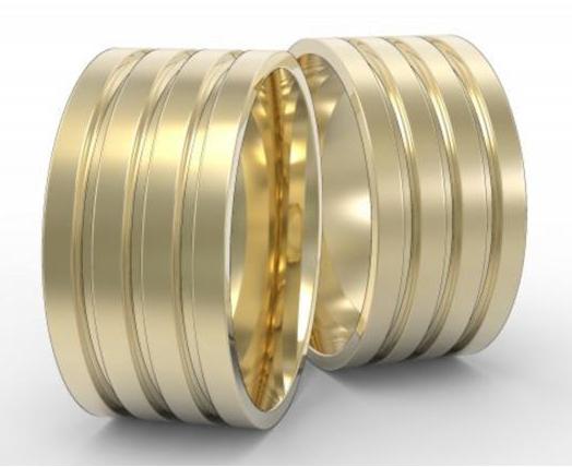 Par de Alianças de Casamento Hera Ouro 18K com Frisos 10mm e 22g.