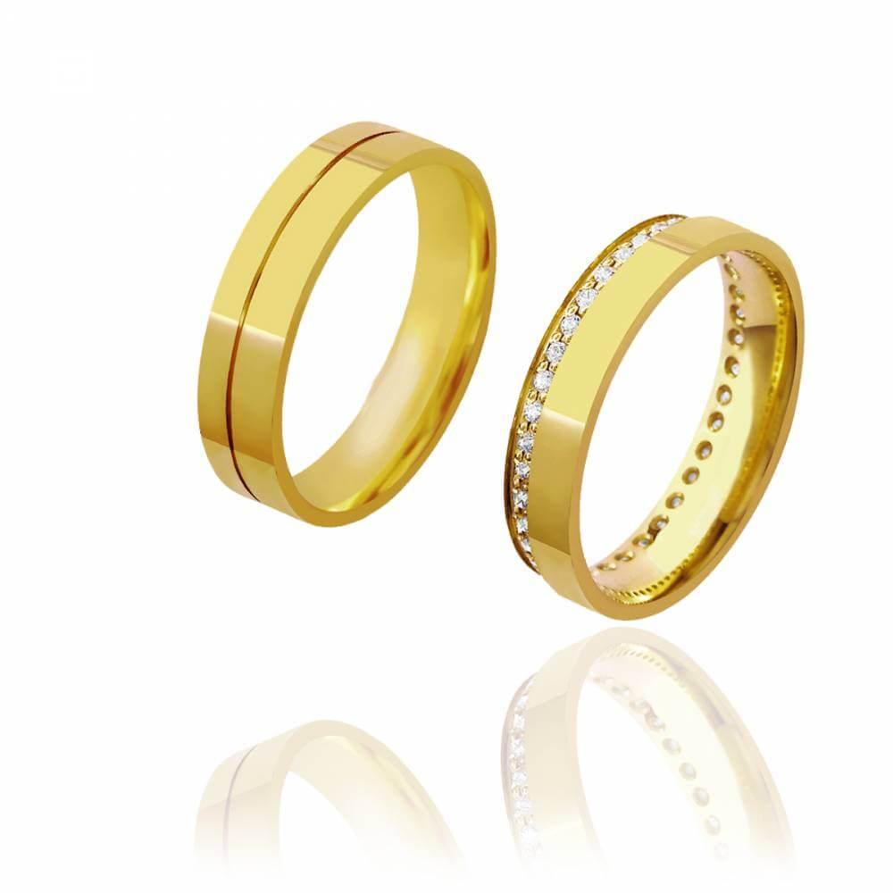 Par de Alianças de Casamento Hera Ouro Cravejada de Brilhantes 5mm 6g