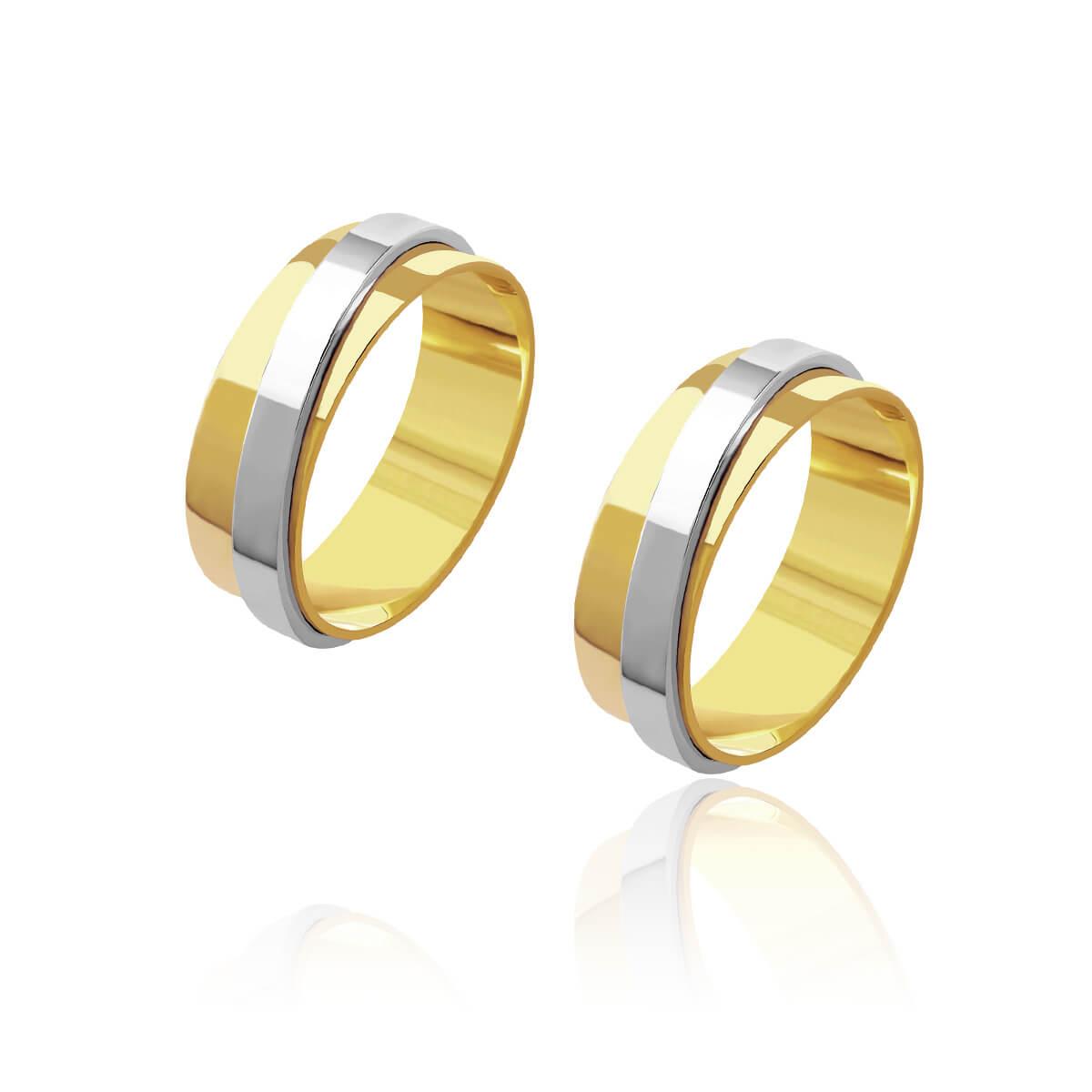 Par de Alianças de Casamento Hera Ouro Friso Diagonal Ouro Branco 7mm 12g