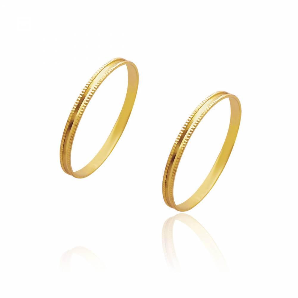 Par de Alianças de Casamento Zeus em Ouro Trabalhada Reta 1,75mm 1,4g