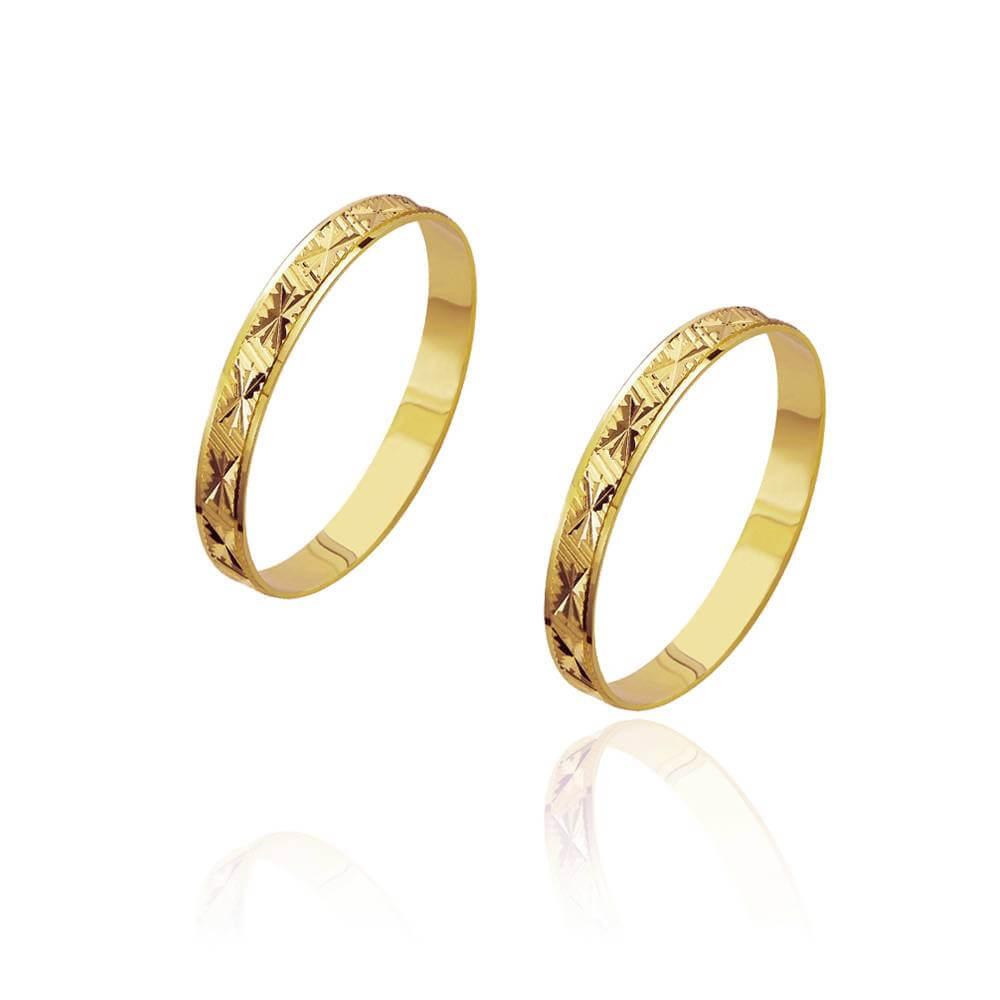 Par de Alianças de Casamento Zeus em Ouro Trabalhada Reta 2,8mm 1,9g
