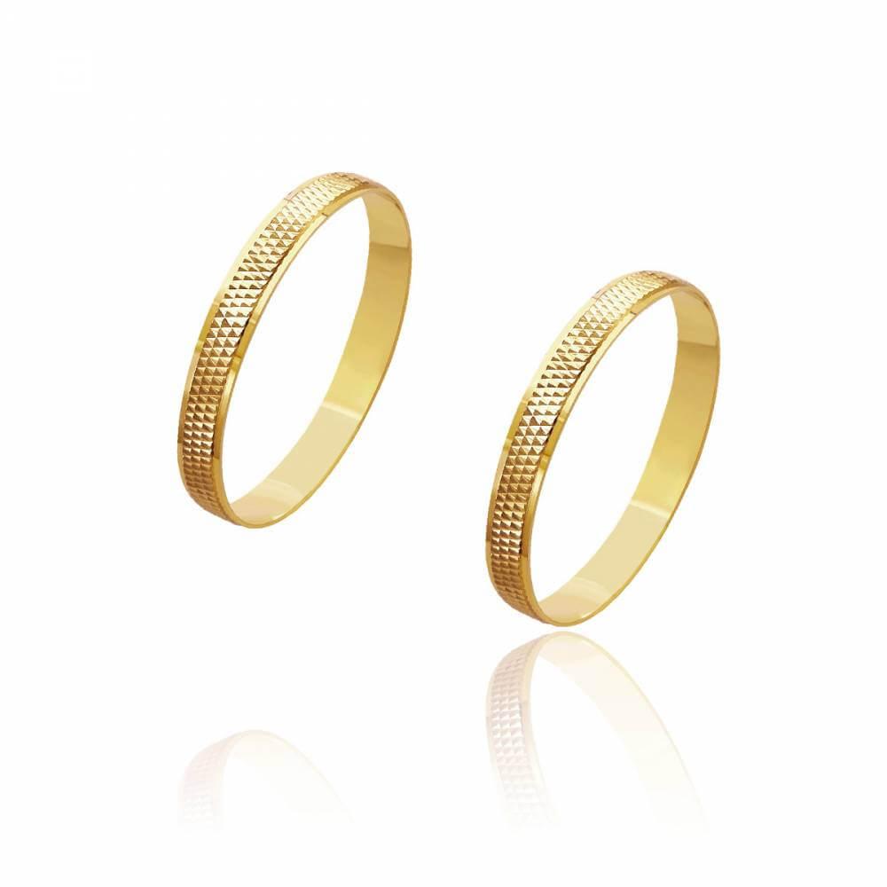 Par de Alianças de Casamento Zeus Ouro Centro Pontuada 2,8mm 2,3g
