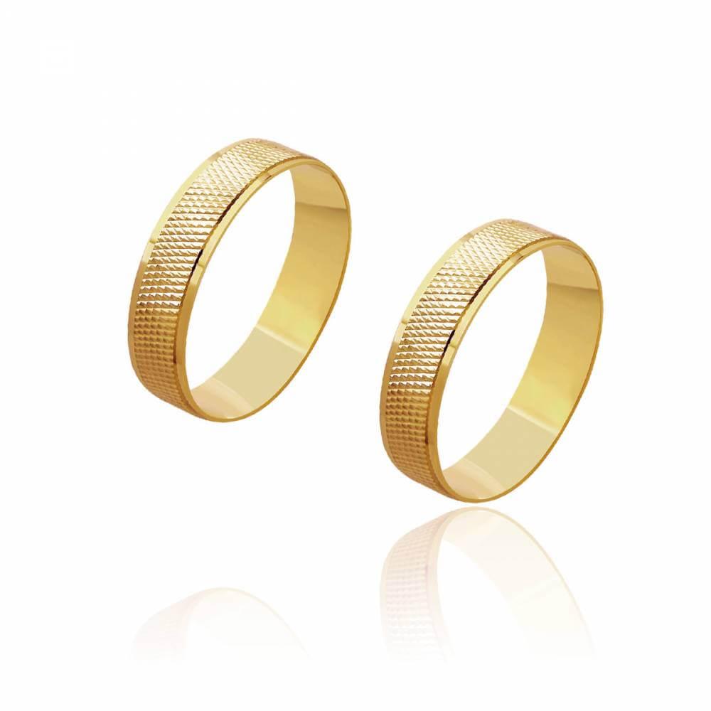 Par de Alianças de Casamento Zeus Ouro Pontuada Bordas Lisas 5mm 5,8g