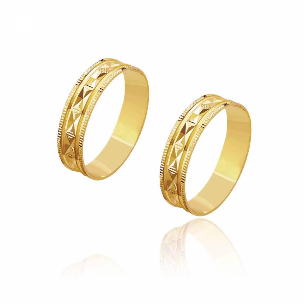 Par de Alianças de Casamento Zeus Ouro Trabalhada Alto Relevo 5mm 5,8g