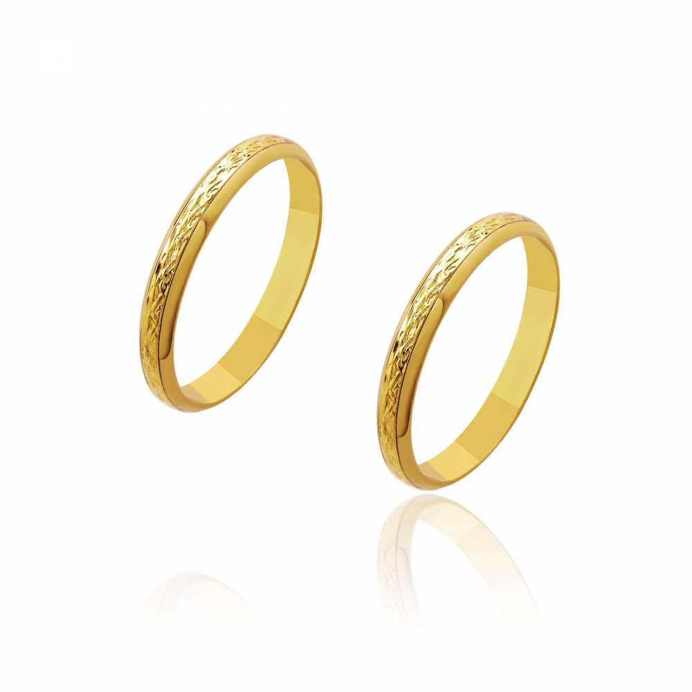Par de Alianças de Casamento Zeus Ouro Trabalhada no Centro 3mm 4,2g