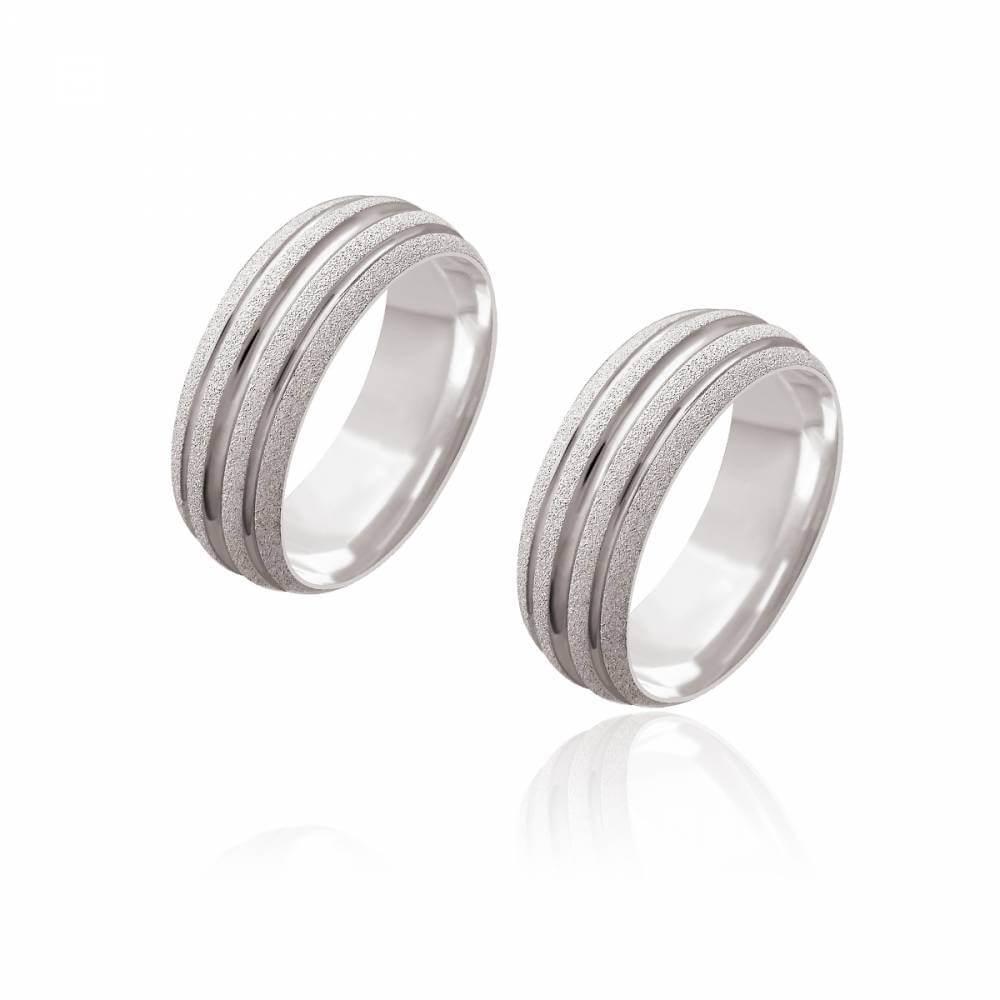 Par de Alianças de Namoro Monet Prata Abaulada Diamantada com 3 Frisos 7,2mm 9,3g