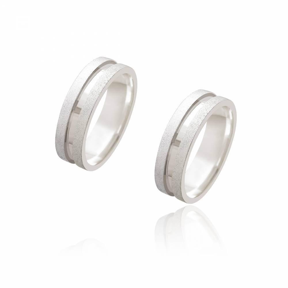 Par de Alianças de Namoro Monet Prata Reta Diamantada com Friso 6,2mm 12g