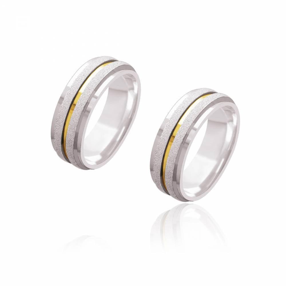 Par de Alianças de Noivado Dali Prata Reta Diamantada com Friso de Ouro 7mm 21,8g