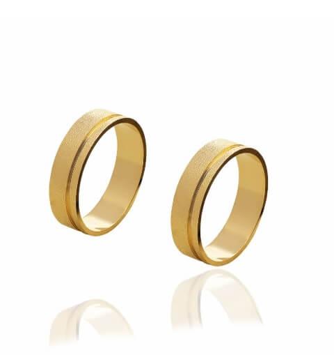 Par de alianças de Ouro 18 K Cronos Diamantadas de 5 mm e 6 g