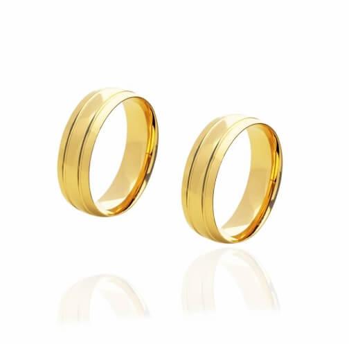 Par de alianças de Ouro 18 Kde 6 mm com 2 frisos e 8 g