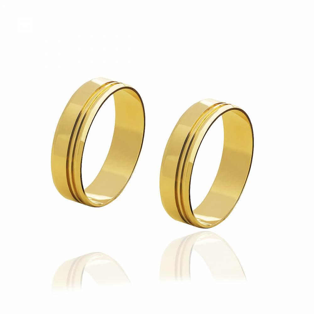 Par de alianças de Ouro brilhante com 2 frisos e 10g