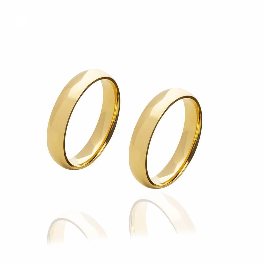 Par de alianças de Ouro brilhante com 4,5 mm e 6g