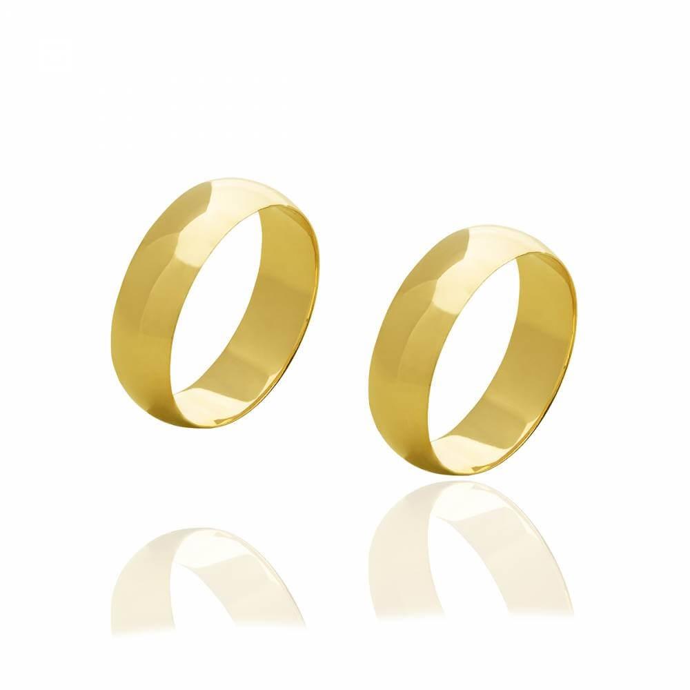 Par de aliancas de Ouro brilhante com 6 mm 9g